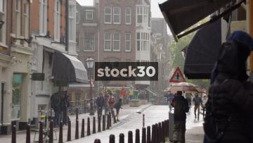 Rainy Street Scene At Spiegelkwartier In Amsterdam, Netherlands