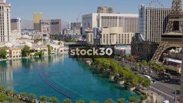 Aerial View Of The Las Vegas Strip During The Daytime, Including The Bellagio Fountain, USA