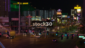 Traffic Passing By On Las Vegas Boulevard Near The MGM Grand, USA