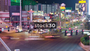 Timelapse Of Traffic On Busy Las Vegas Boulevard, USA