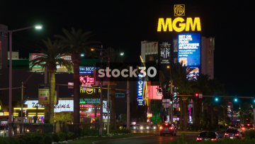 LED Signage On Las Vegas Boulevard, Including MGM Grand, USA