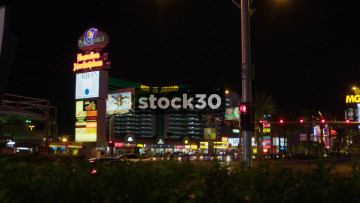 Wide Shot Of The MGM Grand Hotel And Casino On Las Vegas Boulevard, USA