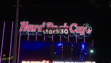 Hard Rock Cafe Signage On Las Vegas Boulevard, USA