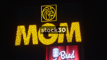 MGM Grand Sign On Las Vegas Boulevard, USA