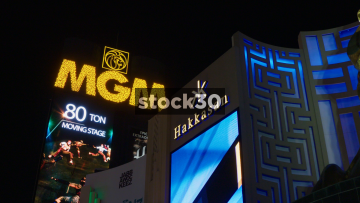 MGM Grand Las Vegas Sign And Pan To Lion Statue, USA