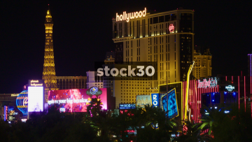 Wide Shot Of Planet Hollywood, Eiffel Tower And Hard Rock Cafe In Las Vegas, USA