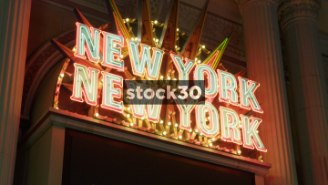 Close Up Shot Of New York New York Sign In Las Vegas, USA
