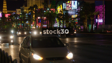 Traffic Passing By On Las Vegas Boulevard At Night, USA