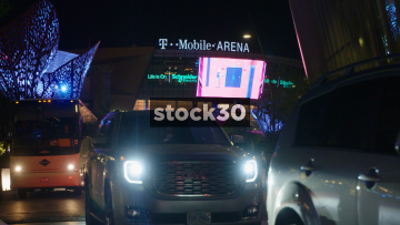 Vehicles Departing From T Mobile Arena In Las Vegas, USA