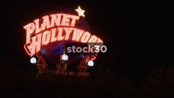 Planet Hollywood Neon Sign In Las Vegas, USA