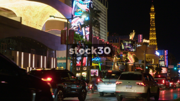 Cars And Bikes Passing By On Las Vegas Boulevard, USA
