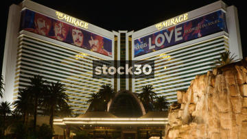 The Mirage Hotel And Casino With Fountain In Las Vegas, USA