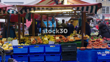 Fruit Stalls On Northampton Market, UK