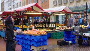 Fruit Sellers On Northampton Market, UK