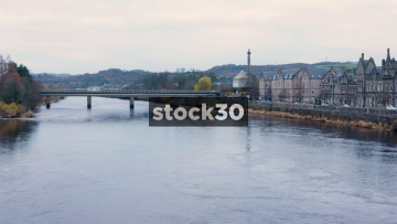 Railway Bridge Over The River Tay And Buildings On Tay Street In Perth, Scotland, UK