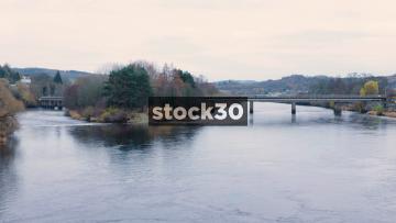 The River Tay And The Railway Bridge In Perth, Scotland, UK