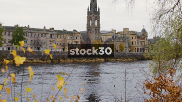 St Matthews Church Of Scotland And The River Tay In Perth, Scotland, UK