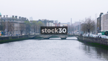 Slow Motion Shot Of The River Liffey In Dublin, Ireland