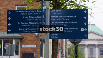 Tourist Directions Signs On Essex Street East In Dublin, Ireland