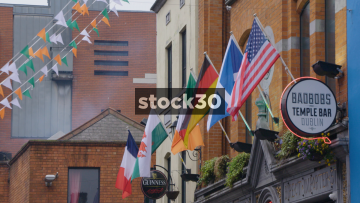 Flags Outside Badbobs Temple Bar In Dublin, Ireland