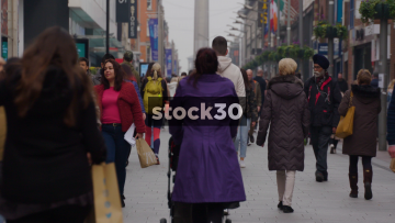 Slow Motion Shot Of Shoppers On Henry Street In Dublin City Centre, Ireland
