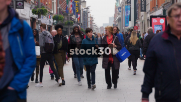 Slow Motion Shot Of Shoppers On Busy Henry Street In Dublin, Ireland