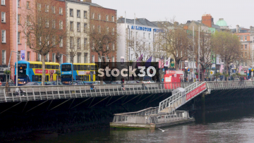 The River Liffey In Dublin With The Arlington Hotel In Background, Ireland