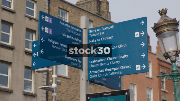 Tourist Directions Sign And Digital Information Board In Dublin, Ireland