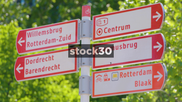 Various Road Signs In Rotterdam, Netherlands