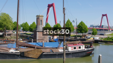 Boats Moored In Oude Haven Dock In Rotterdam