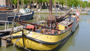 Sailing Boat Moored In Oude Haven Dock In Rotterdam, Netherlands