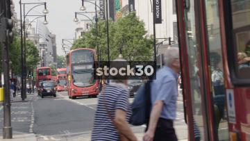 London Buses On Oxford Street In London, UK