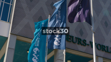 Flags, Statue And Signage At The World Trade Center In Rotterdam, Netherlands