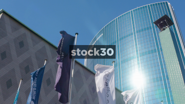 Slow Motion Shot Of Flags Outside The World Trade Center In Rotterdam