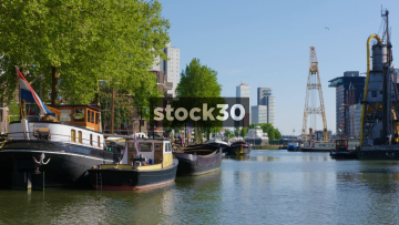 Rotterdam Docks Area With Boats And Netherlands Flag, Netherlands