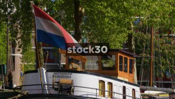 Slow Motion Shot Of Netherlands Flag Flying On Boat In Rotterdam, Netherlands
