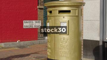 Gold Postbox In Uxbridge, UK
