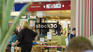 Slow Motion Close Up Shot Of Food Area And Pret A Manger At South Mimms Services, UK