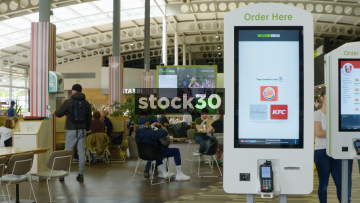 Electronic Food Ordering Systems At Welcome Break Services, South Mimms, UK