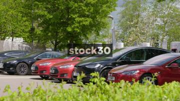 Tesla Model X Arriving At Super Charger, UK