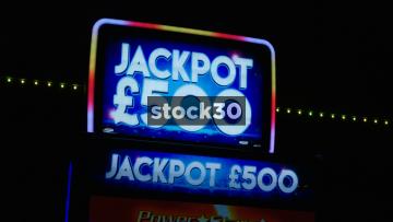£500 Jackpot Sign On Machine At Amusement Arcade, UK