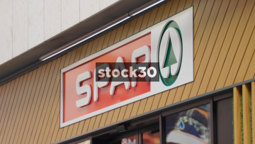 Spar Store In Dublin, Close Up On Sign Then Wide Shots, Ireland