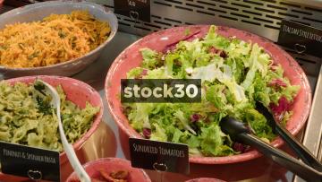 Various Ingredients In Salad Bar