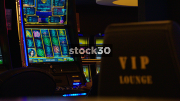 Woman Playing Slot Machine In Casino