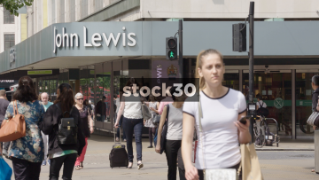 Slow Motion Shot Of John Lewis On Oxford Street In London, UK
