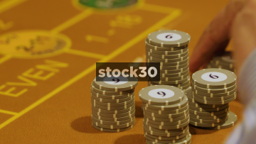 Chips Put Down On Roulette Table In Casino
