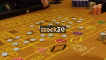 Chips On Roulette Table In Casino