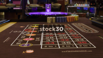 Close Up Shots Of Roulette Table In Casino