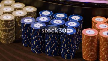 Three Close Up Shots Of Casino Chips