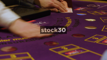 Dealing Cards On Gaming Table In Casino